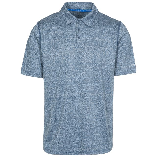 Monocle Men's Quick Dry Polo Shirt in Navy, Front view on mannequin
