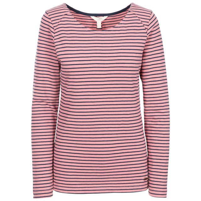 Moomba Women's Striped Long Sleeve T-shirt in Pink, Front view on mannequin
