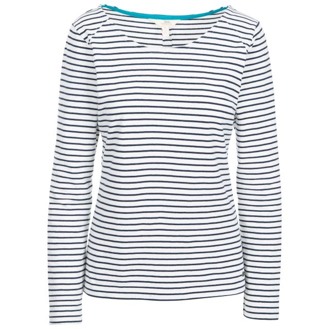 Moomba Women's Striped Long Sleeve T-shirt in White, Front view on mannequin