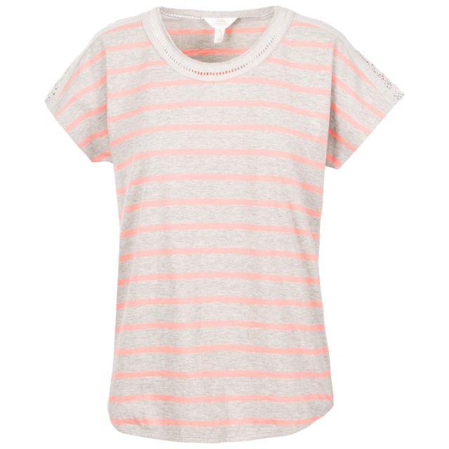 Trespass Women's Casual Short Sleeve Stripe T-Shirt Moor Grey Stripe, Front view on mannequin