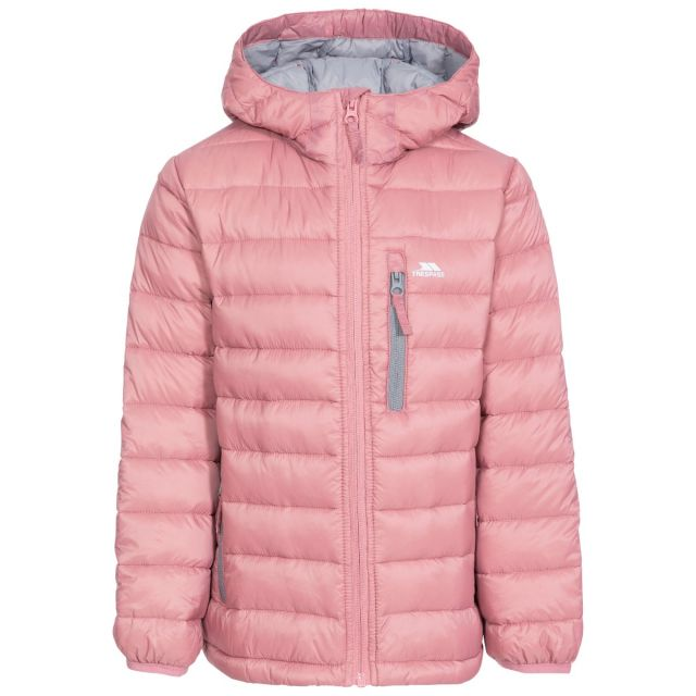 Morley Kids' Down Jacket in Pink, Front view on mannequin