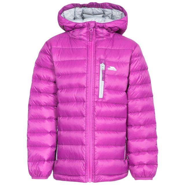 Morley Kids' Down Jacket in Purple, Front view on mannequin