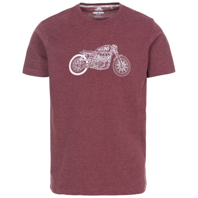 Motorbike Men's Printed Casual T-Shirt in Purple, Front view on mannequin