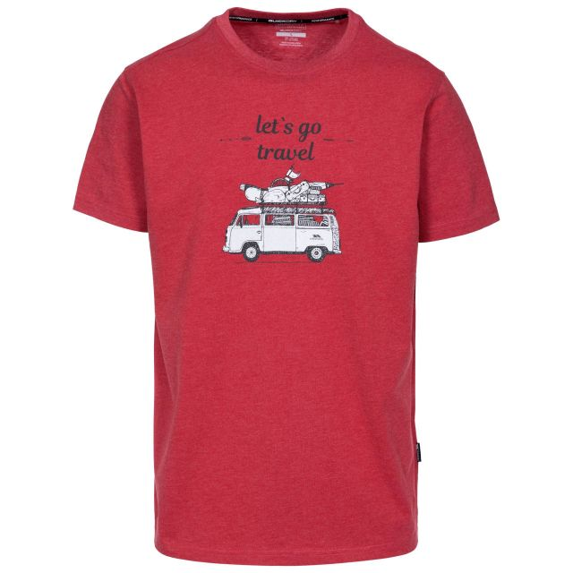Motorway Men's Printed Casual T-Shirt in Red, Front view on mannequin