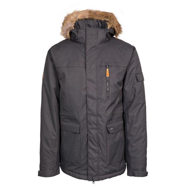Mount Bear Men's Waterproof Parka Jacket in Black, Front view on mannequin