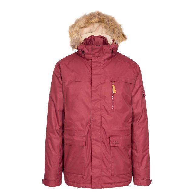 Mount Bear Men's Waterproof Parka Jacket in Purple, Front view on mannequin