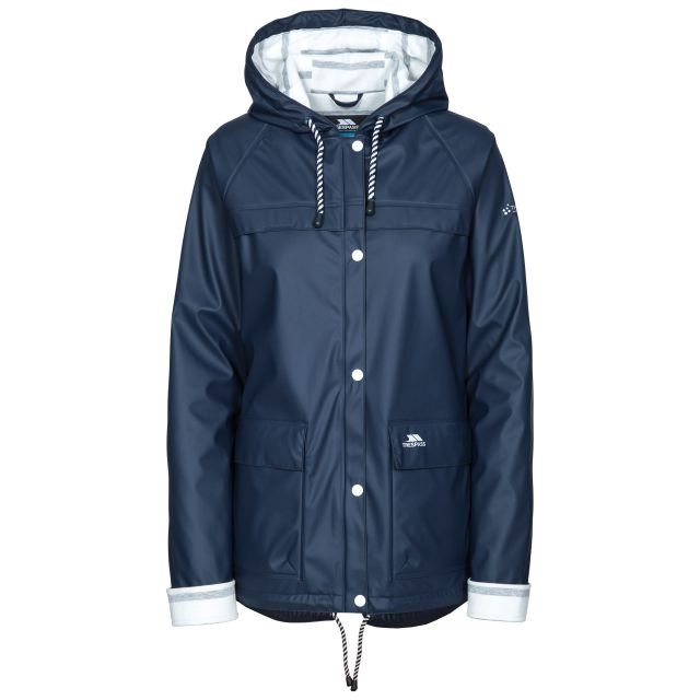 Trepass Womens Waterproof Jacket Hooded Muddle in Navy, Front view on mannequin