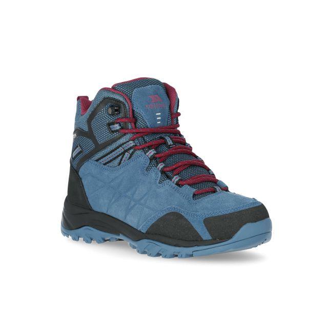 Trespass Womens Walking Boots Waterproof Suede Nairne Teal, Angled view of footwear
