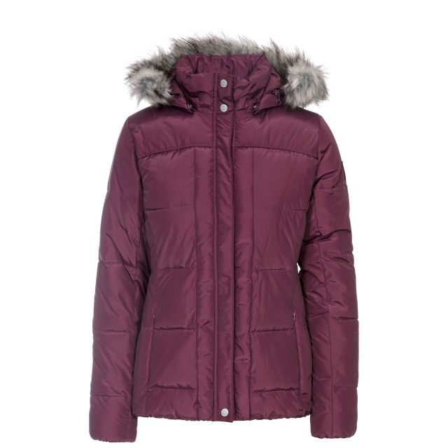 Trespass Women Padded Jacket Nanette in Purple, Front view on mannequin
