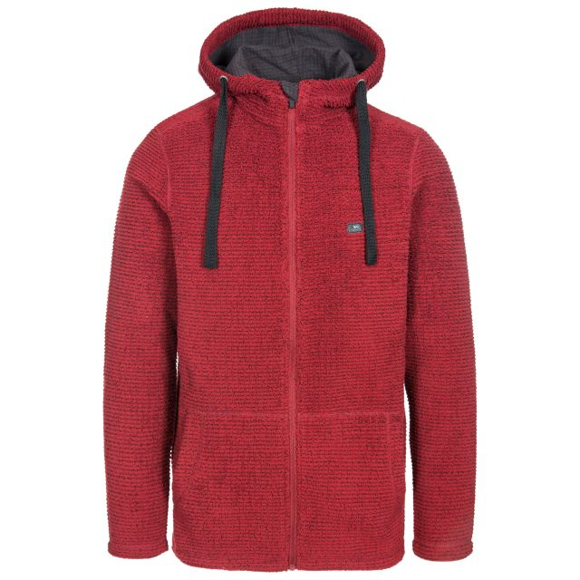 Napperton Men's Hooded Fleece Jacket in Red, Front view on mannequin