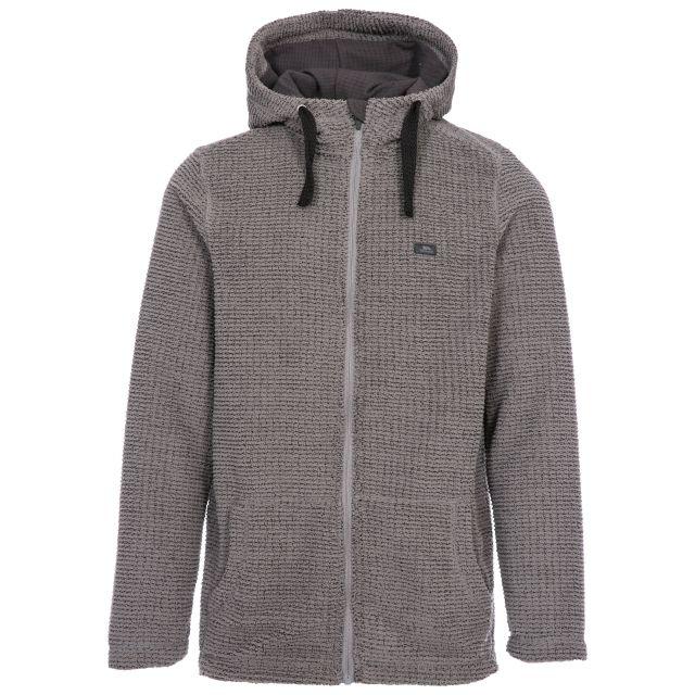 Napperton Men's Hooded Fleece Jacket in Grey, Front view on mannequin