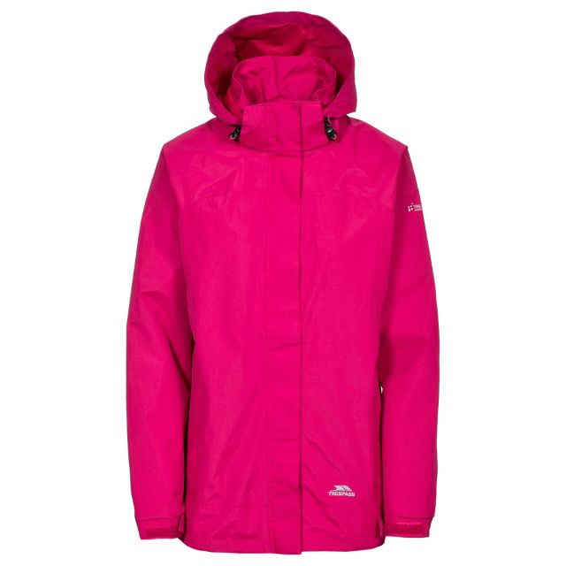 Trespass Womens Waterproof Jacket Nasu II in Pink, Front view on mannequin