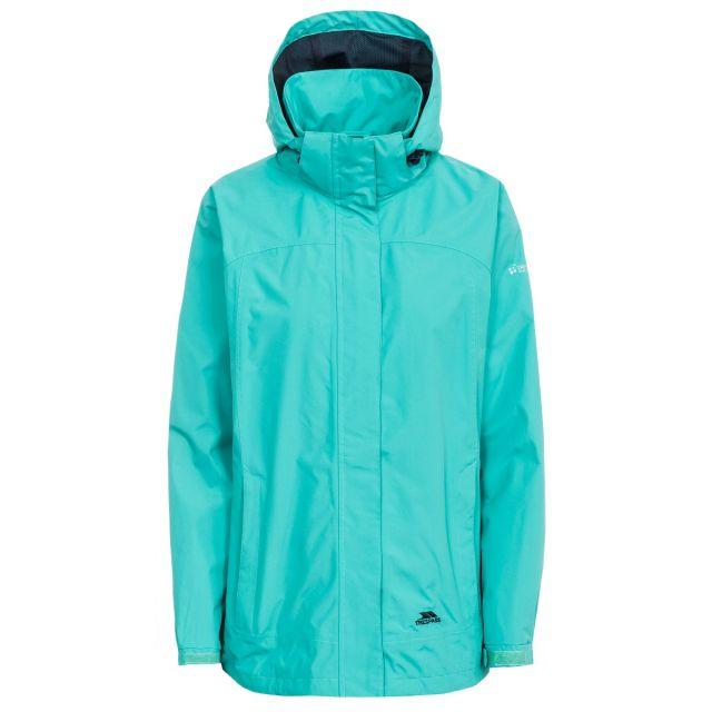 Trespass Womens Waterproof Jacket Nasu II in Light Blue, Front view on mannequin