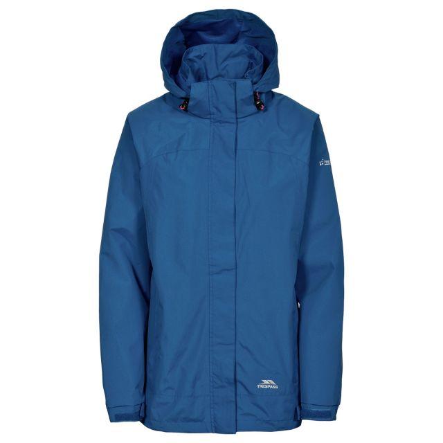 Trespass Womens Waterproof Jacket Nasu II in Midnight Blue, Front view on mannequin