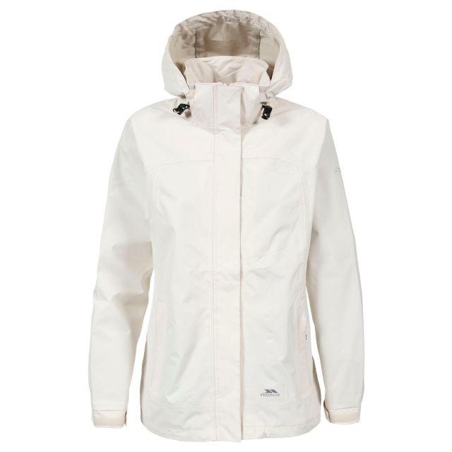 Trespass Womens Waterproof Jacket Nasu II in White, Front view on mannequin