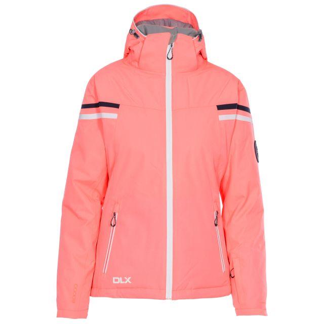 DLX Womens Waterproof Ski Jacket Recco Natasha in Peach, Back view on mannequin