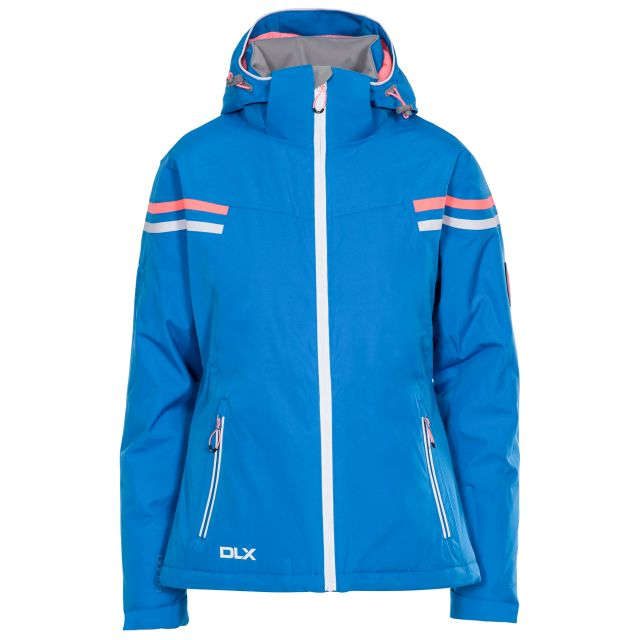 DLX Womens Waterproof Ski Jacket Recco Natasha in Blue, Front view on mannequin