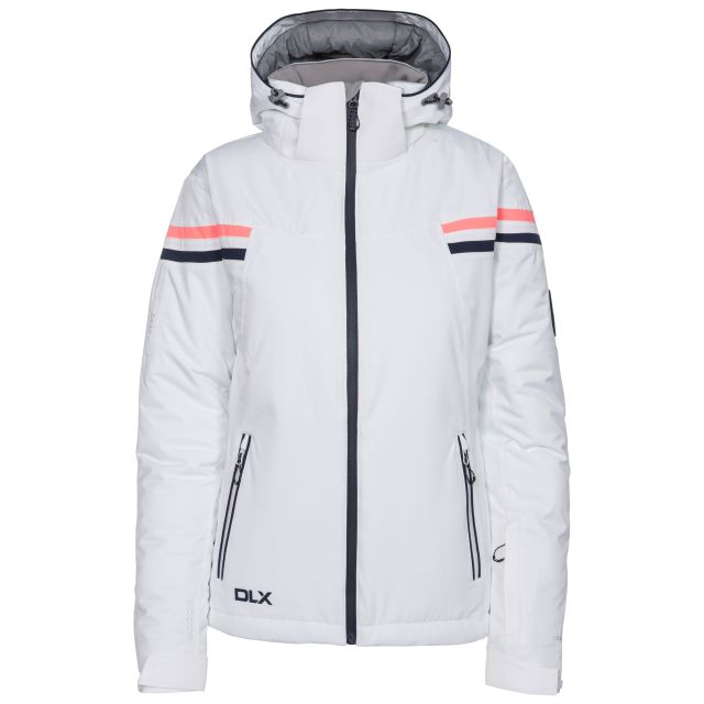 DLX Womens Waterproof Ski Jacket Recco Natasha in White, Front view on mannequin