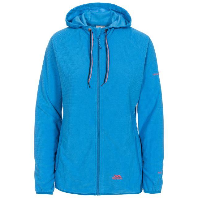 Network Women's Fleece Hoodie in Blue, Front view on mannequin