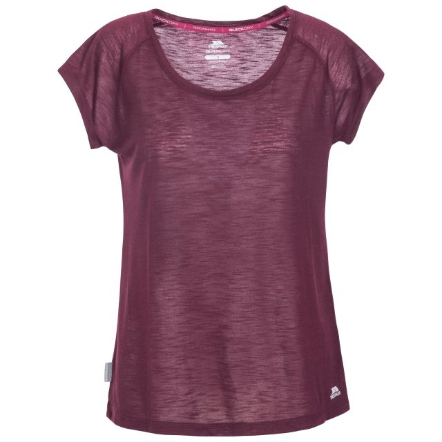 Newby Women's Quick Dry Active T-Shirt in Purple, Front view on mannequin