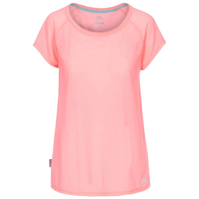 Newby Women's Quick Dry Active T-Shirt in Peach, Front view on mannequin