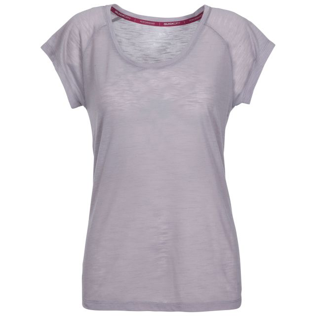 Newby Women's Quick Dry Active T-Shirt in Grey, Front view on mannequin