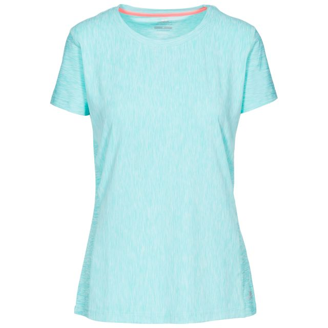 Newby Women's Quick Dry Active T-Shirt in Light Blue, Front view on mannequin