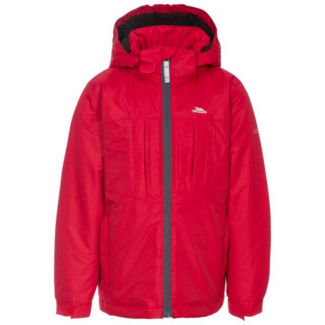 Nicol Kids' Waterproof Jacket in Red, Front view on mannequin