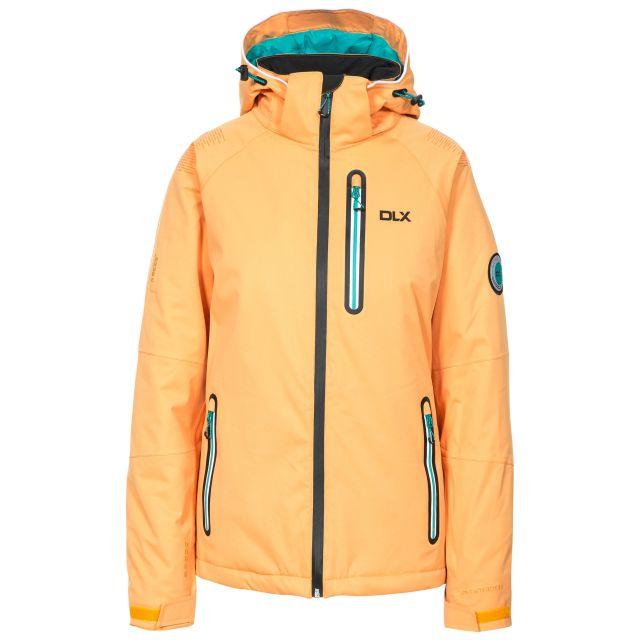 DLX Womens Ski Jacket Hi Tech Nicolette in Orange, Front view on mannequin