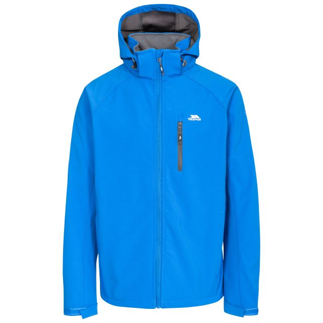 Nider Men's Hooded Softshell Jacket in Blue, Front view on mannequin