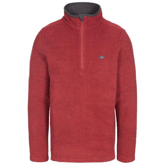 Nillsee Men's 1/2 Zip Fleece in Red, Front view on mannequin