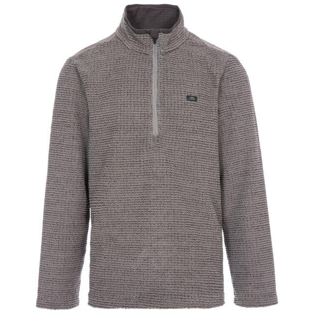Nillsee Men's 1/2 Zip Fleece in Grey, Front view on mannequin
