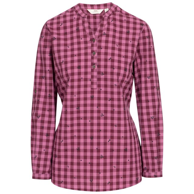 Noreen Women's Long Sleeve Shirt in Purple, Front view on mannequin