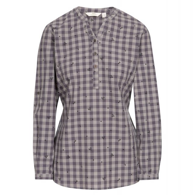 Noreen Women's Long Sleeve Shirt in Grey, Front view on mannequin