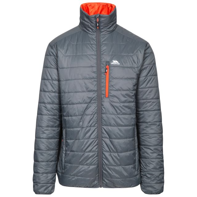 Norman Men's Lightweight Padded Casual Jacket in Grey, Front view on mannequin