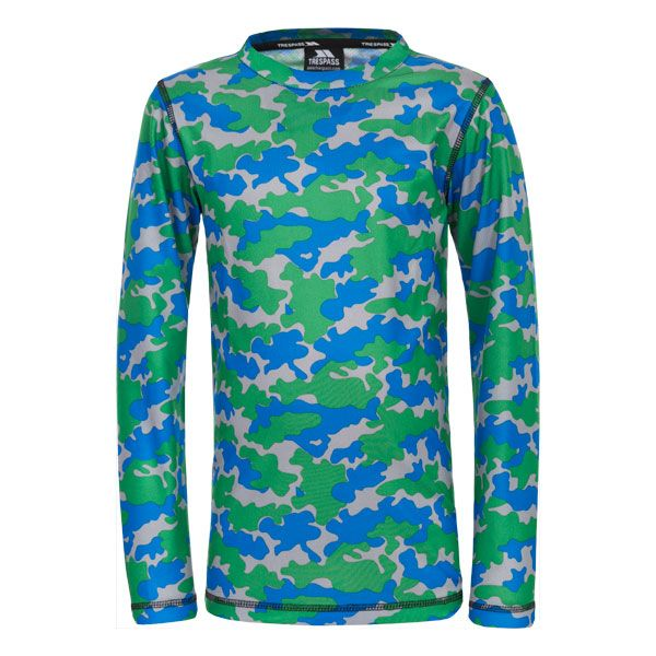 Oaf Kids Base Layer Top in Blue, Front view on mannequin