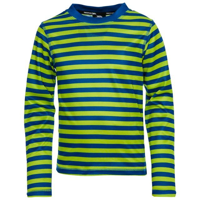 Oaf Kids Base Layer Top in Green, Front view on mannequin