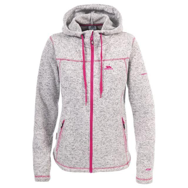 Odelia B Women's Pink Knitted Fleece in Light Grey, Front view on model