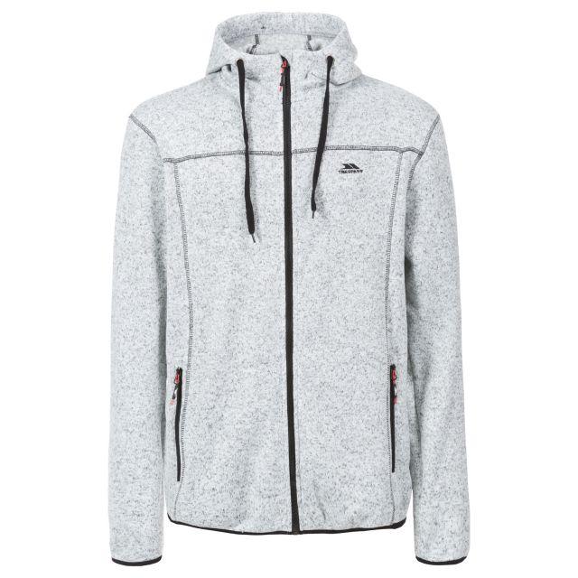 Odeno Men's Fleece Hoodie in Light Grey, Front view on mannequin