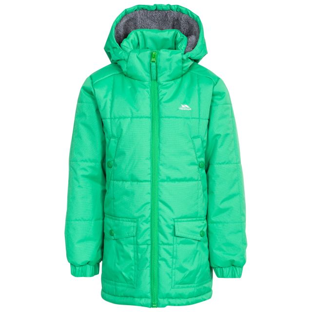 Offside Boys' Water Resistant Padded Jacket in Green, Front view on mannequin