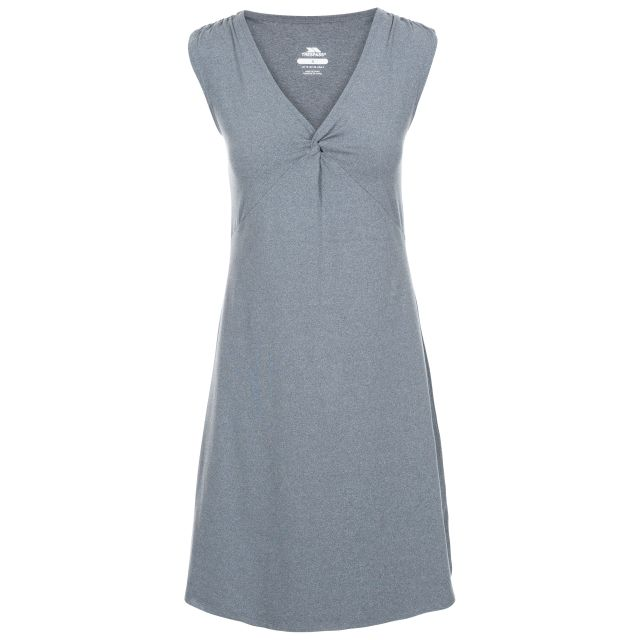 Opalite Women's V-Neck Sleeveless Dress in Grey, Front view on mannequin