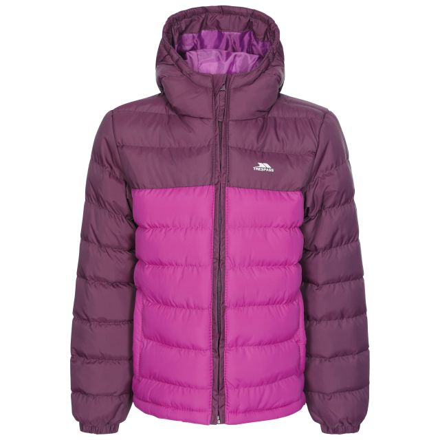 Oskar Kids' Padded Casual Jacket in Purple, Front view on mannequin