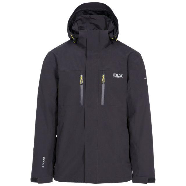 Oswalt Men's DLX Waterproof Jacket in Grey, Front view on mannequin