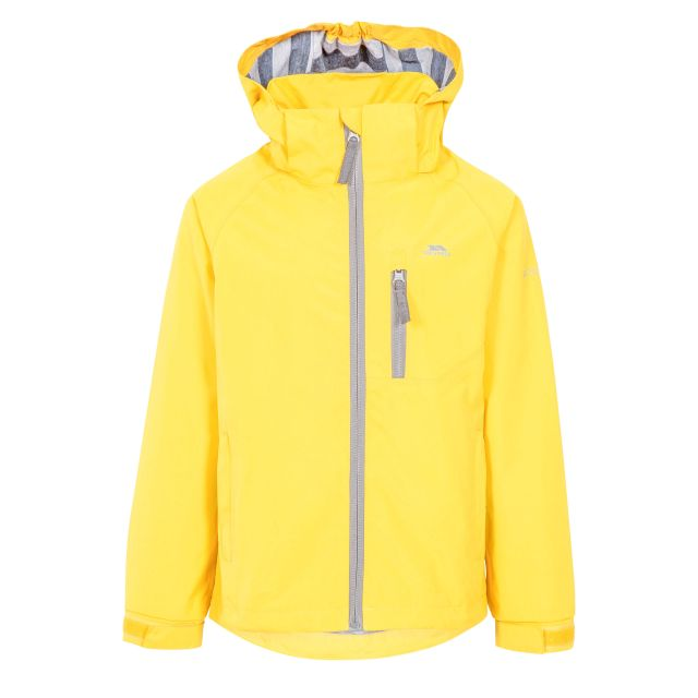 Overwhelm Kids' Waterproof Jacket in Yellow, Front view on mannequin
