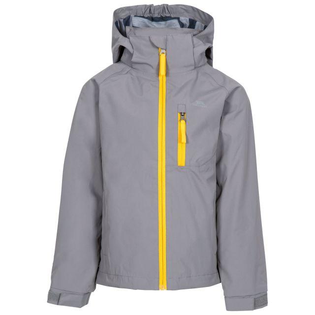 Overwhelm Kids' Waterproof Jacket in Grey, Front view on mannequin