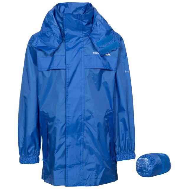 Packa Kids' Waterproof Packaway Jacket in Blue, Front view on mannequin