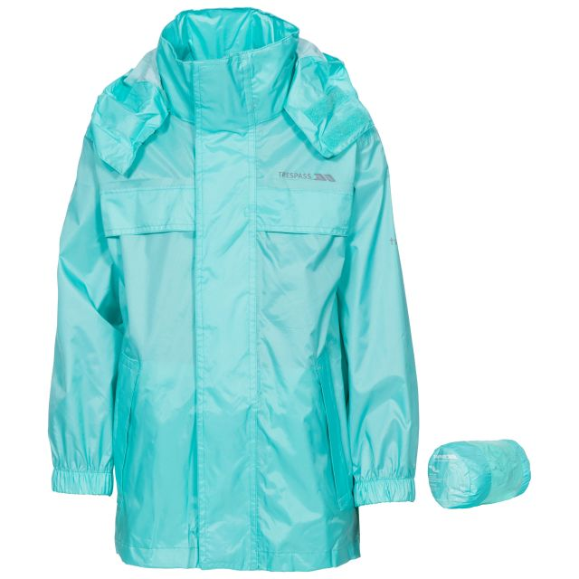 Packa Kids' Waterproof Packaway Jacket in Light Blue, Front view on mannequin