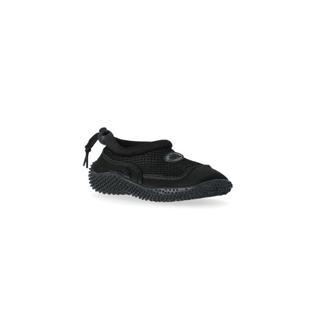 Paddle Kids' Aqua Shoes in Black, Angled view of footwear
