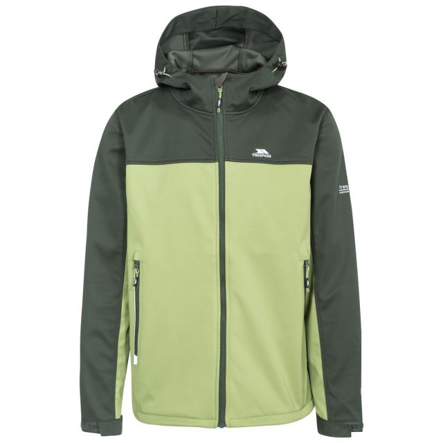 Palin Men's Hooded Softshell Jacket in Khaki, Front view on mannequin