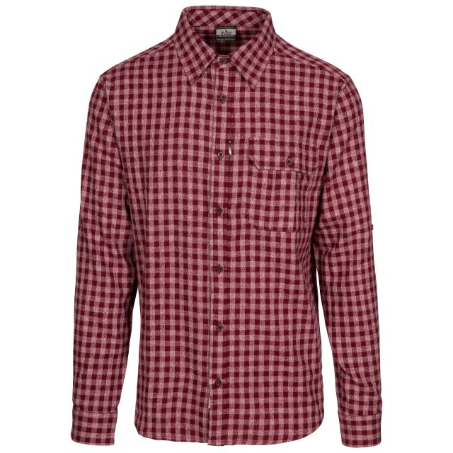 Participate Men's Checked Cotton Shirt in Purple, Front view on mannequin
